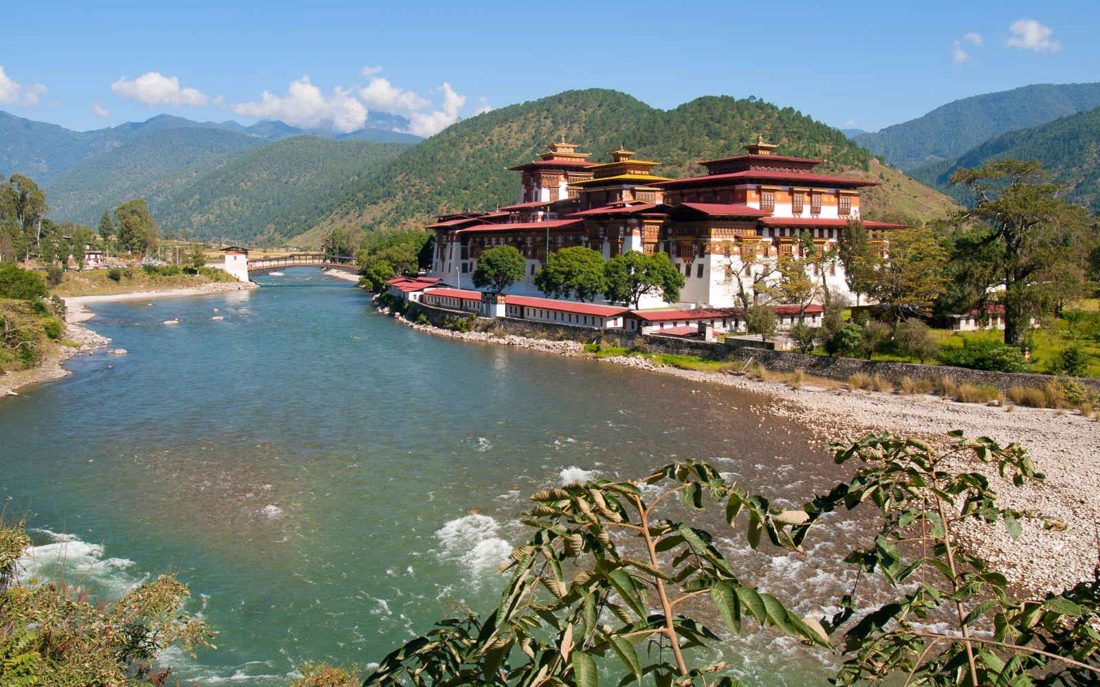 Dzong de Punakha et rivière Mo Chhu, Bhoutan