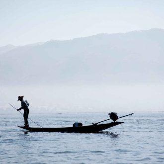 Homme, bateau, Myanmar