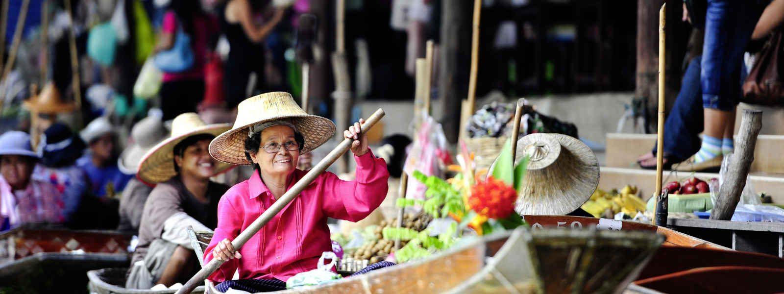Marché flottant de Damnoen Saduak,Bangkok, Thaïlande