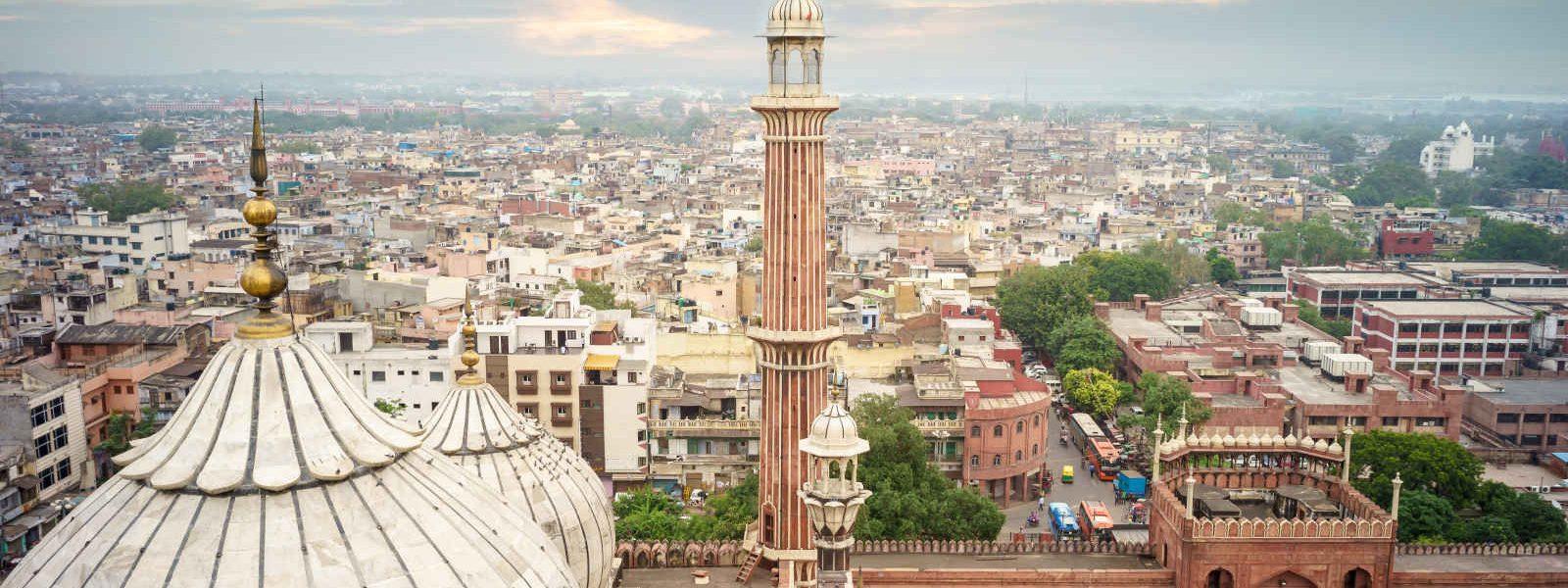 Vue aérienne, Jama Masjid, vieux Delhi, Inde