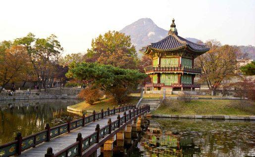 Pagode au soleil couchant, Corée