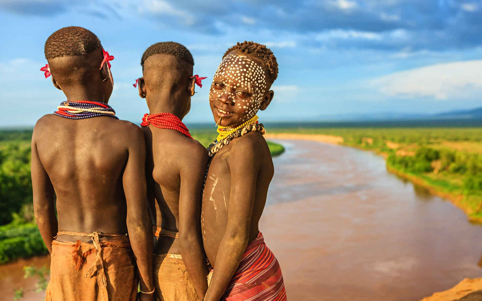 Enfants Karo, Vallée de L'Omo, Ethiopie