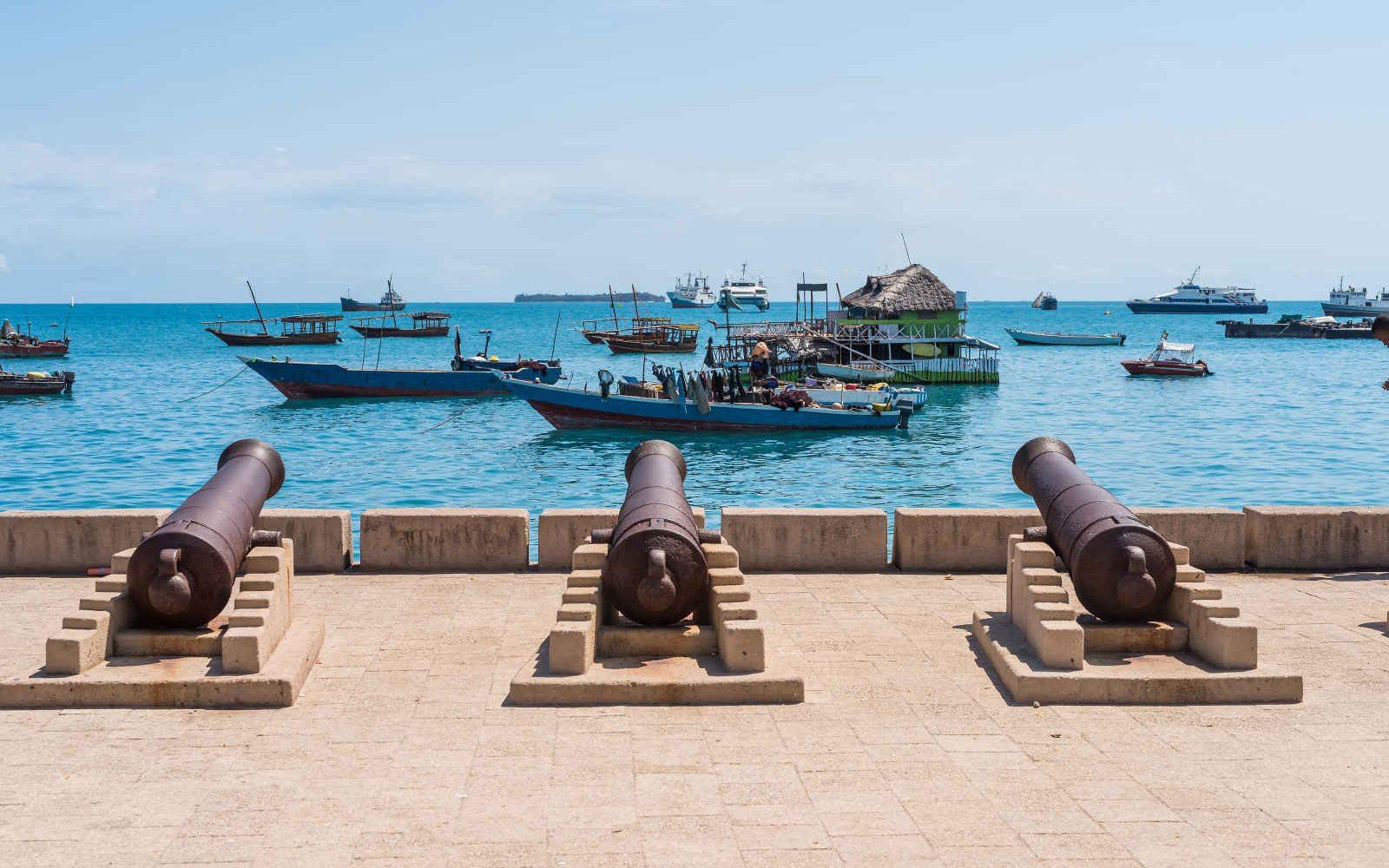 Canons face aux bateaux de pêcheurs, Stone Town, Zanzibar