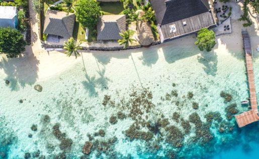 Vue aérienne, Hotel Relais Mahana, Huahine, Polynésie Française