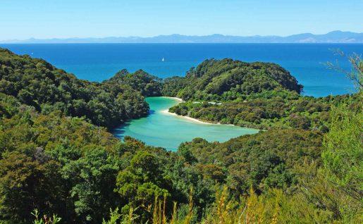 Plage, parc Abel Tasman, Nouvelle-Zélande